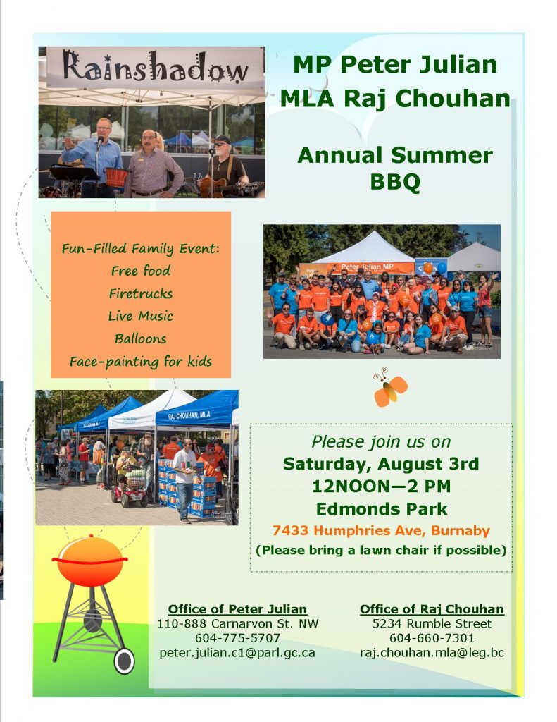 Edmonds Community BBQ with MLA Raj Chouhan and MP Peter Julian @ Edmonds Park Plaza | Burnaby | British Columbia | Canada