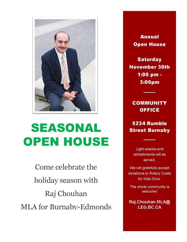 Seasonal Open House @ Raj Chouhan, MLA Community Office